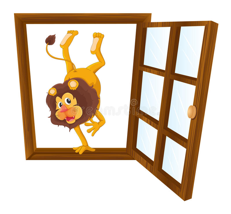 Ett lejon i fönstret stock illustrationer