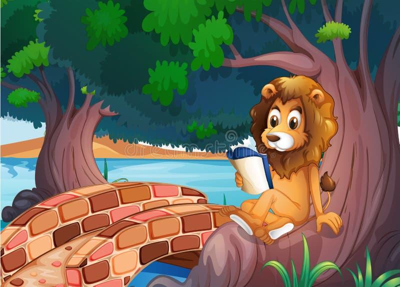 Ett lejon som läser en bok ovanför rota av ett stort träd royaltyfri illustrationer