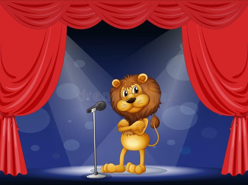 Ett lejon som utför på etapp royaltyfri illustrationer
