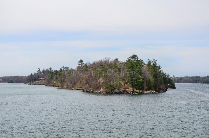 Ett litet ö och strandhus på St Lawrence River royaltyfri foto