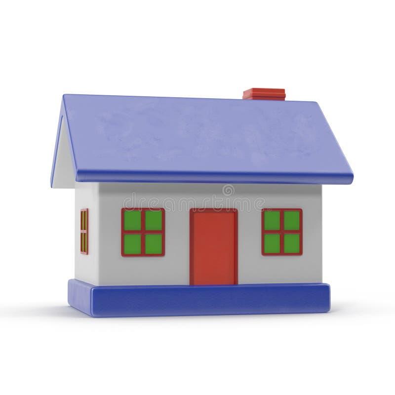 Ett litet hus med blåtttaket på en vit illustration 3d stock illustrationer