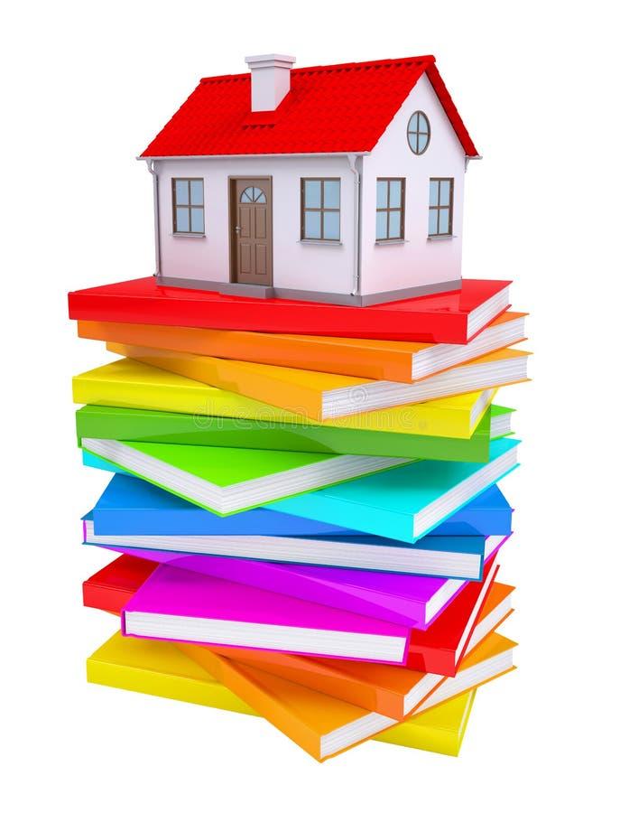Ett litet hus på en bunt av färgrika böcker royaltyfri illustrationer