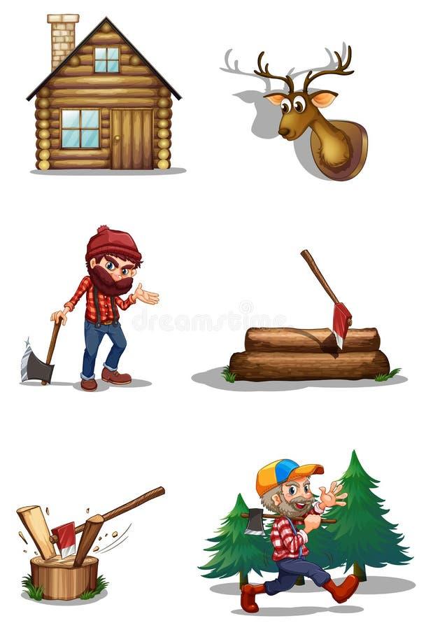 Ett liv av en skogsarbetare royaltyfri illustrationer