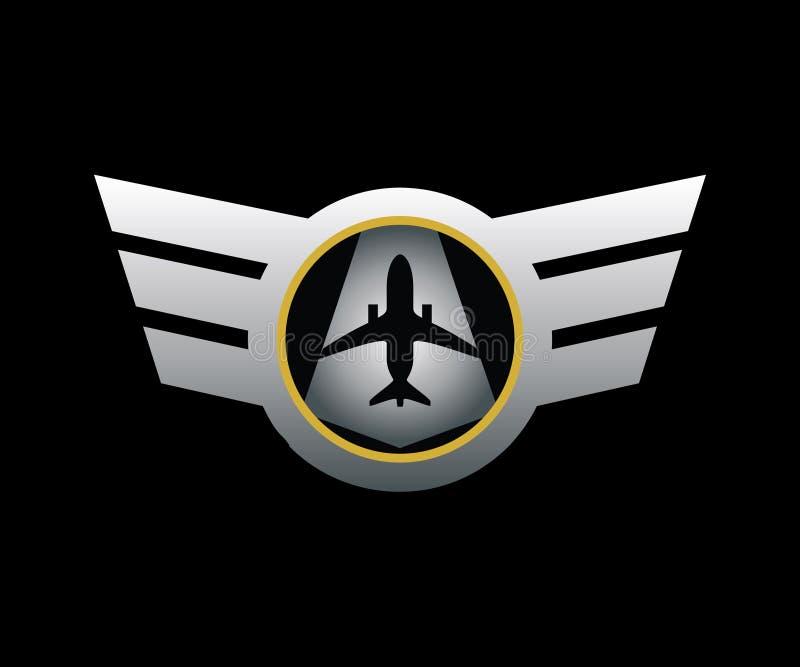 Ett logoemblem för flygbolag/pilot i silverfärg royaltyfri illustrationer