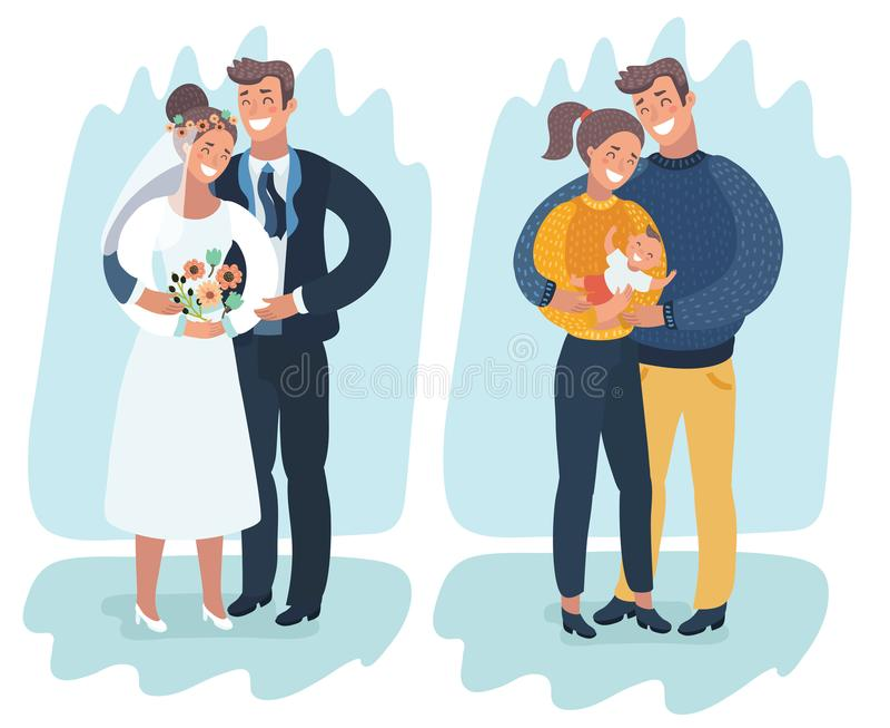 Ett lyckligt gift par med ett nyfött behandla som ett barn royaltyfri illustrationer