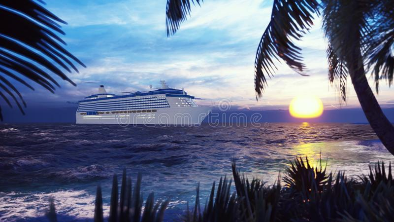 Ett lyxigt kryssningskepp som anslutas nära en ö med palmträd och tropiska växter i vinden på solnedgången framf?rande 3d vektor illustrationer