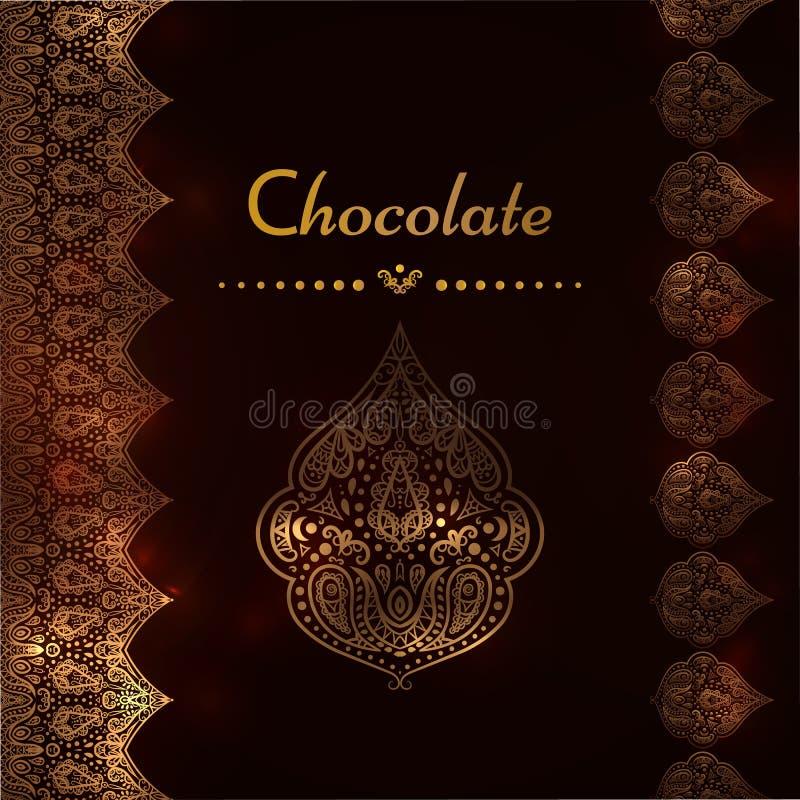 Ett lyxigt tappningvektorkort Inbjudan med härliga guld- prydnader, snör åt gränsramen Chokladmall vektor illustrationer