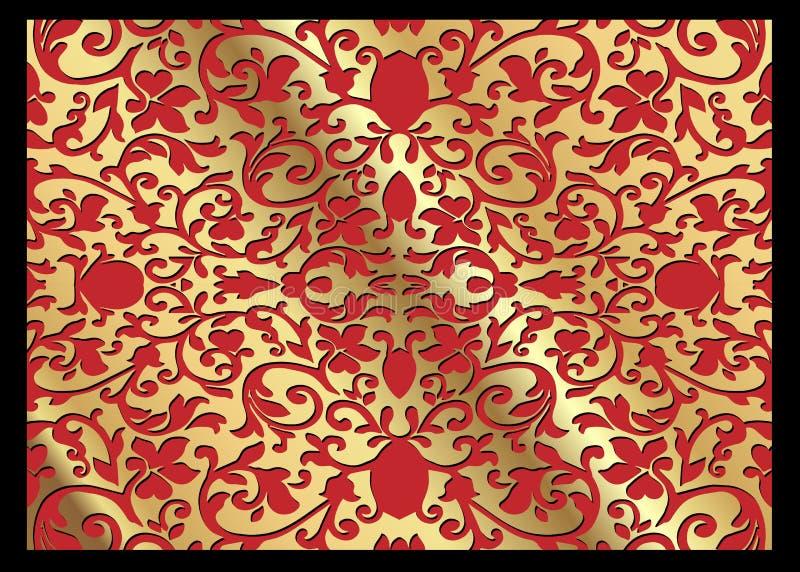 Ett lyxigt tappningvektorkort Röd bakgrund med härliga prydnader och den guld- ramen Guld- utsmyckat dekorativt Linjen konst, snö stock illustrationer
