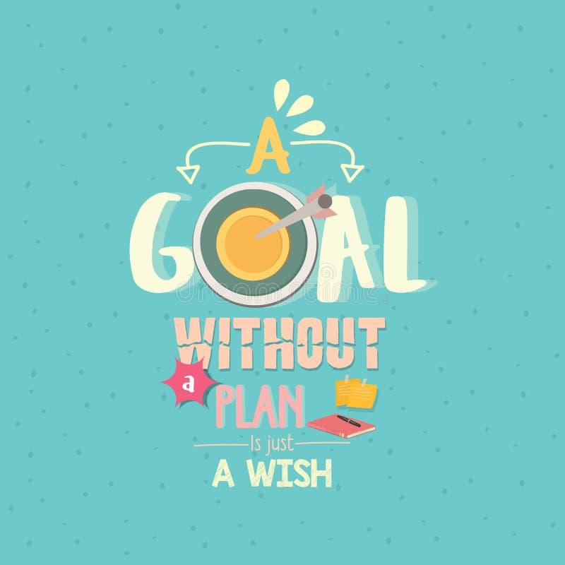 Ett mål utan ett plan är precis en affisch för önskacitationsteckenord royaltyfri illustrationer