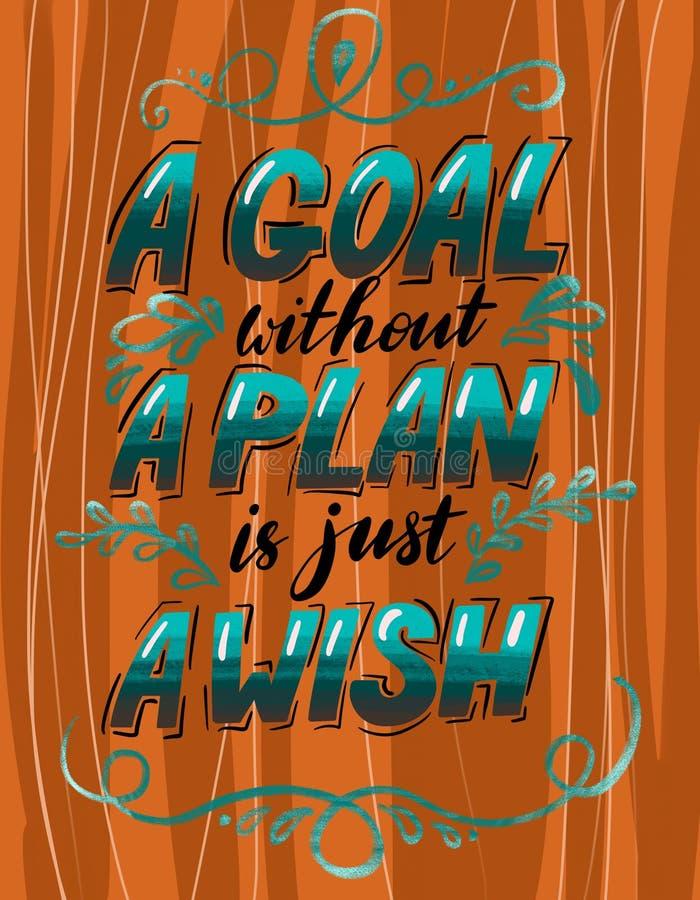 Ett mål utan ett plan är precis en önska handdrawn bokstäver med idérikt motivationcitationstecken Illustrationtypografiaffisch stock illustrationer
