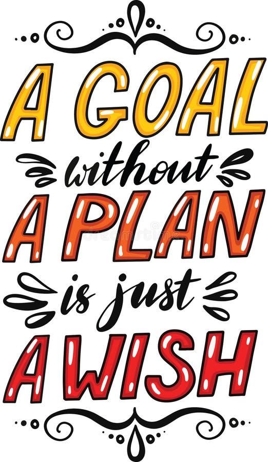 Ett mål utan ett plan är precis en önska Idérikt motivationcitationstecken Begrepp för vektortypografiaffisch vektor illustrationer
