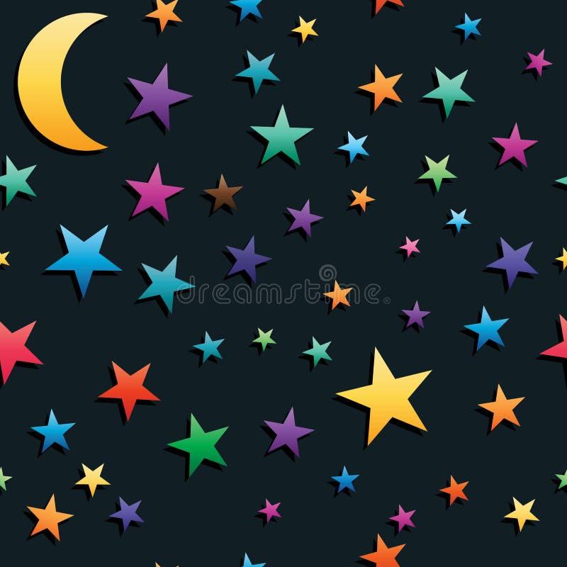 Ett många halvmånformig sömlös modell för stjärna stock illustrationer