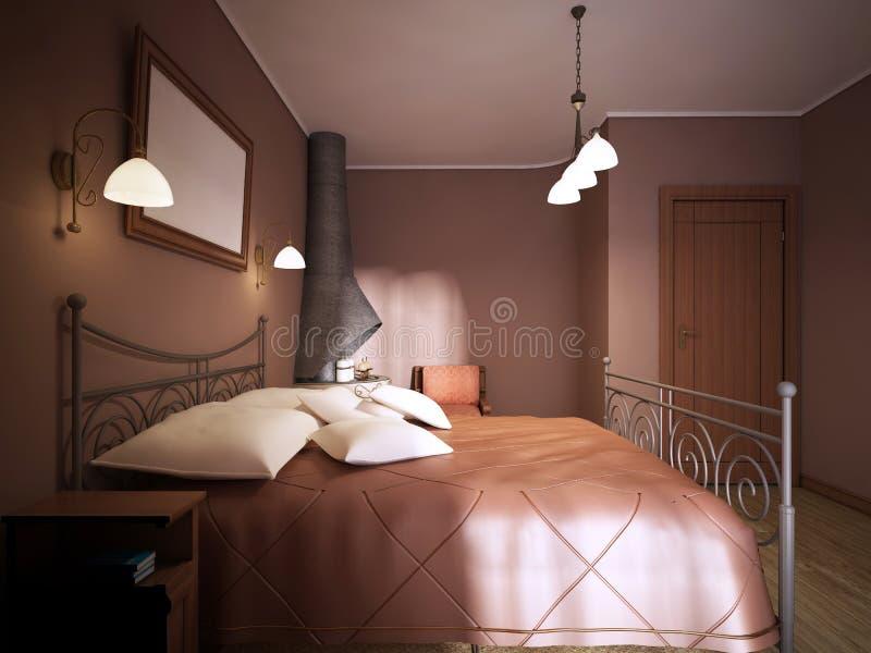 Ett mörkt brunt sovrum i lantlig stil med en spis med en smidesjärnsäng vektor illustrationer