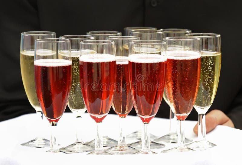 Försök av sparkling wine royaltyfri bild