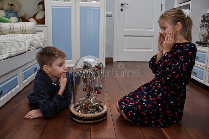 Ett magiskt träd under en exponeringsglaskupol royaltyfria bilder