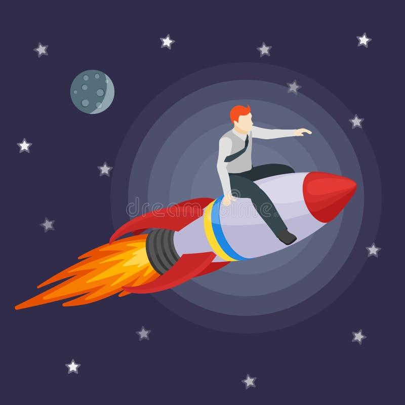 Ett manflyg på en raket och shower framåtriktat vektor illustrationer