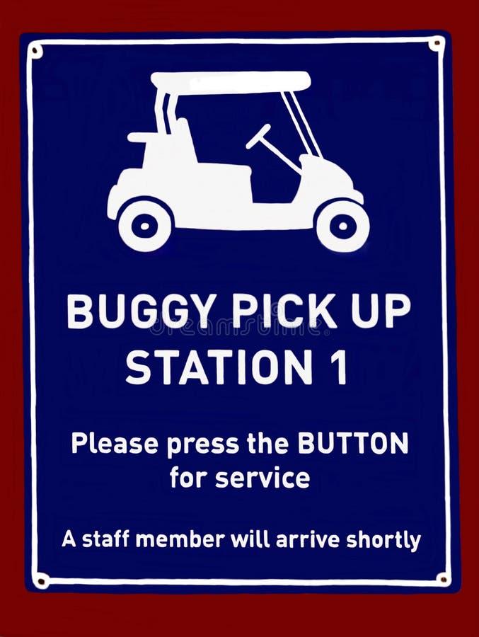 Ett meddelande som indikerar var gångare kan ordna uppsamlingen i en golfbarnvagn för transport royaltyfria bilder