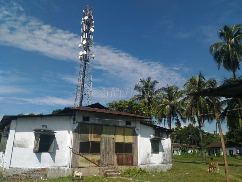 Ett mobilt torn i en teträdgård royaltyfri bild
