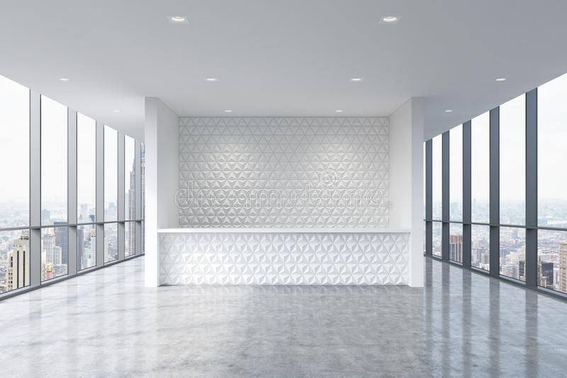 Ett mottagandeområde i en modern ljus ren kontorsinre Enorma panorama- fönster med den New York sikten vektor illustrationer