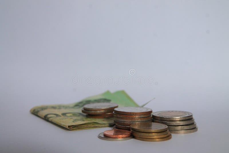 Ett mynt är en graf i en vit bakgrund Affärsidéer tillfogar en kolonn till dina besparingar idé för affärsbankrörelsebegrepp Peng royaltyfri fotografi