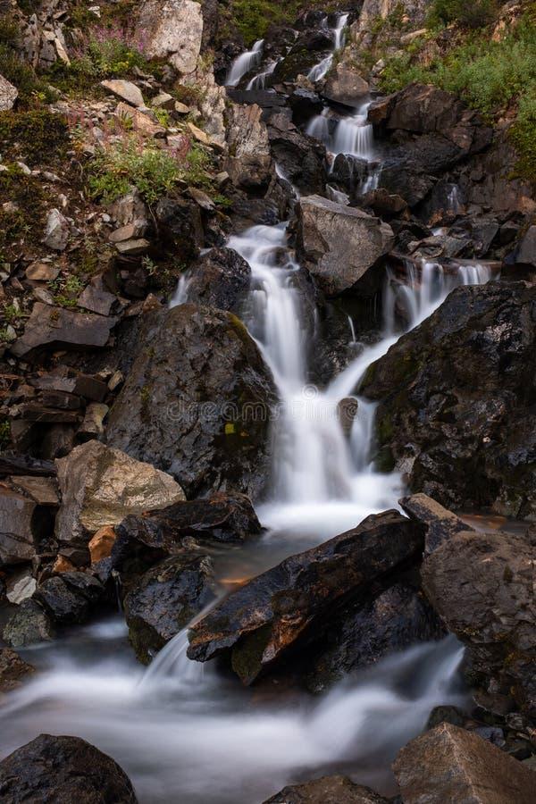 Ett nära en liten vägrenvattenfall, som den dråsar på, vaggar på vägen för smutsspåret som upp till leder Salmon Glacier, britt fotografering för bildbyråer