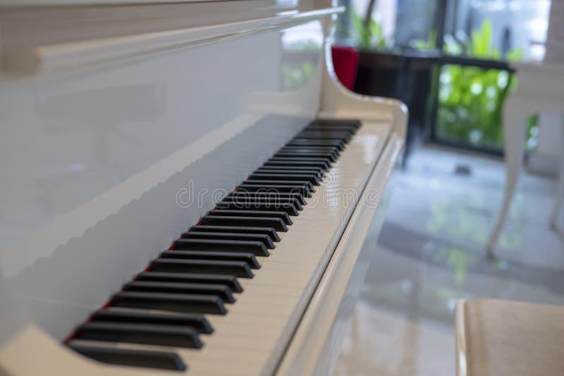Ett nyckel- piano 88 på ett vitt piano royaltyfria bilder