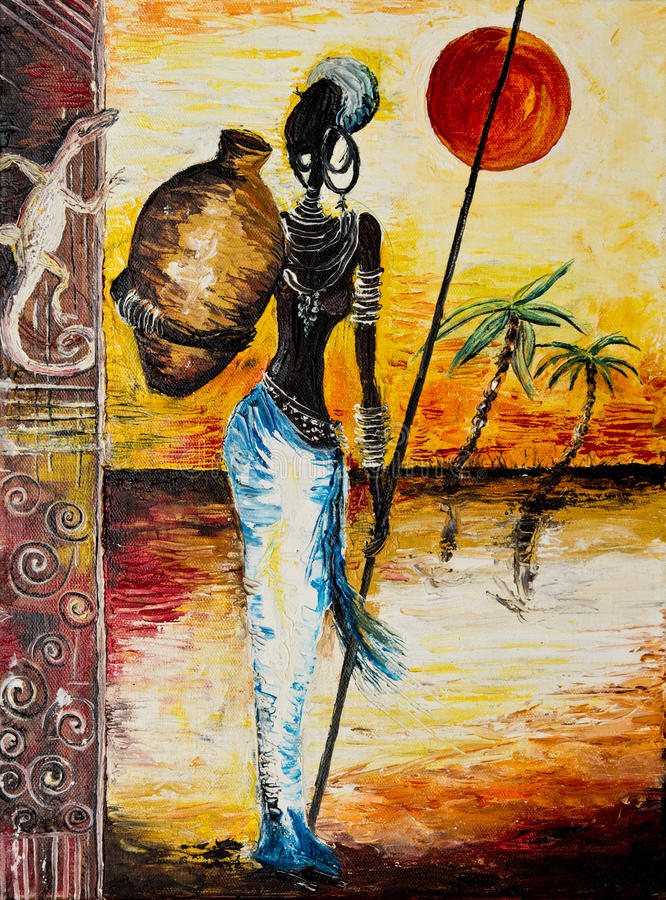 Specificerar av afrikansk kvinnamålning royaltyfri bild