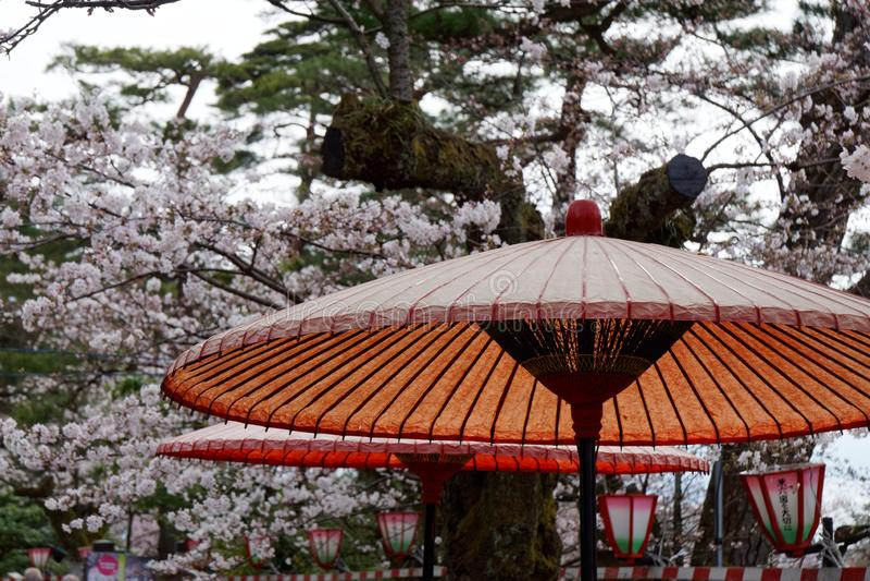 Ett pappers- paraply i Kanazawa arkivfoton