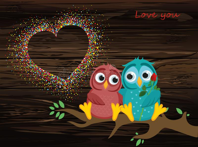 Ett par av förälskade älskvärda ugglor, sitter på en filial Färgrik confett stock illustrationer