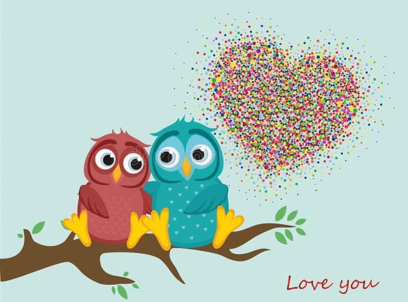 Ett par av förälskade älskvärda ugglor, sitter på en filial färgrika konfettiar vektor illustrationer