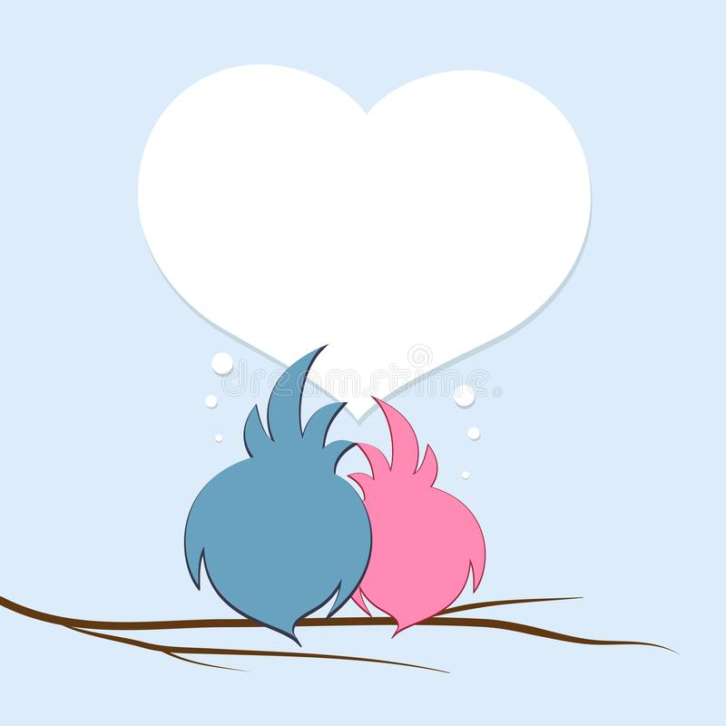 Ett par av förälskade fåglar på en trädfilial mot bakgrunden av valentin för hjärta den idérika mallen för affisch för dag royaltyfri illustrationer