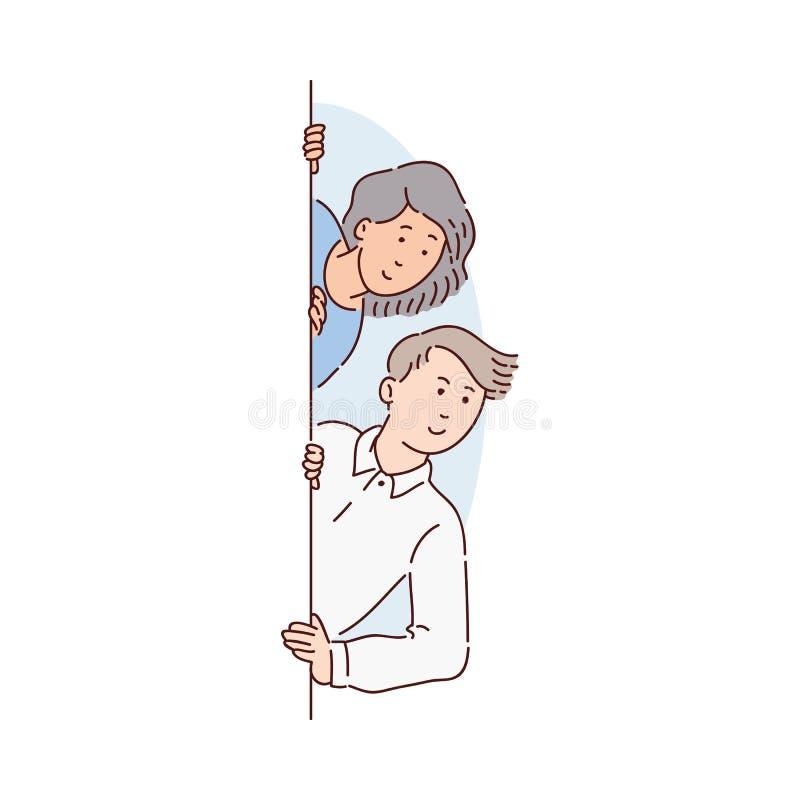 Ett par av folk, en ung man och kvinna som bakifrån kikar och ser ett fönster eller en vägg och le vektor illustrationer