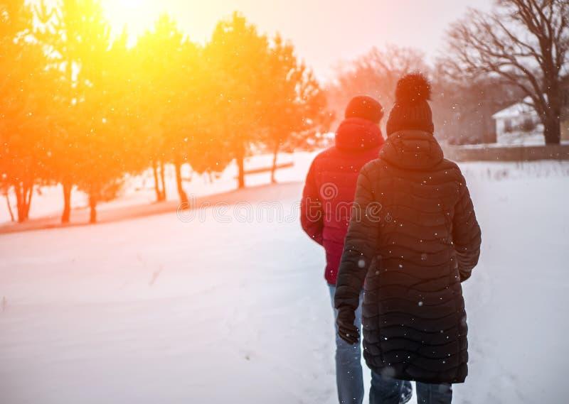Ett par av folk går i vintern parkerar arkivbilder