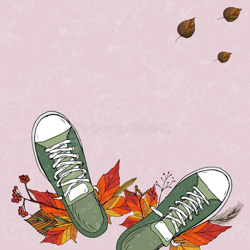 Ett par av gröna textilgymnastikskor royaltyfri illustrationer
