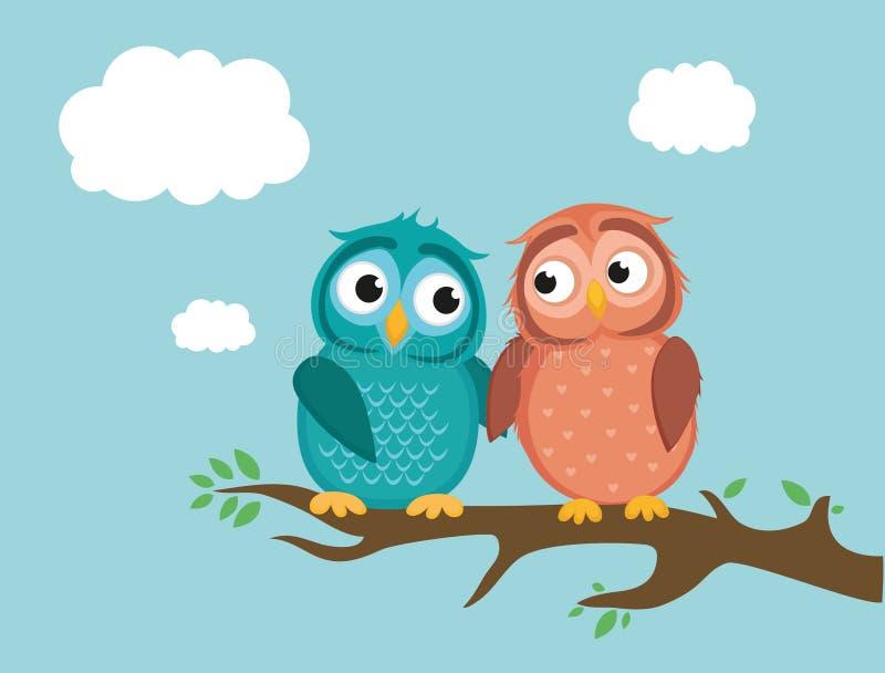 Ett par av gulligt uggleungesammanträde på en filial älska owls vektor illustrationer