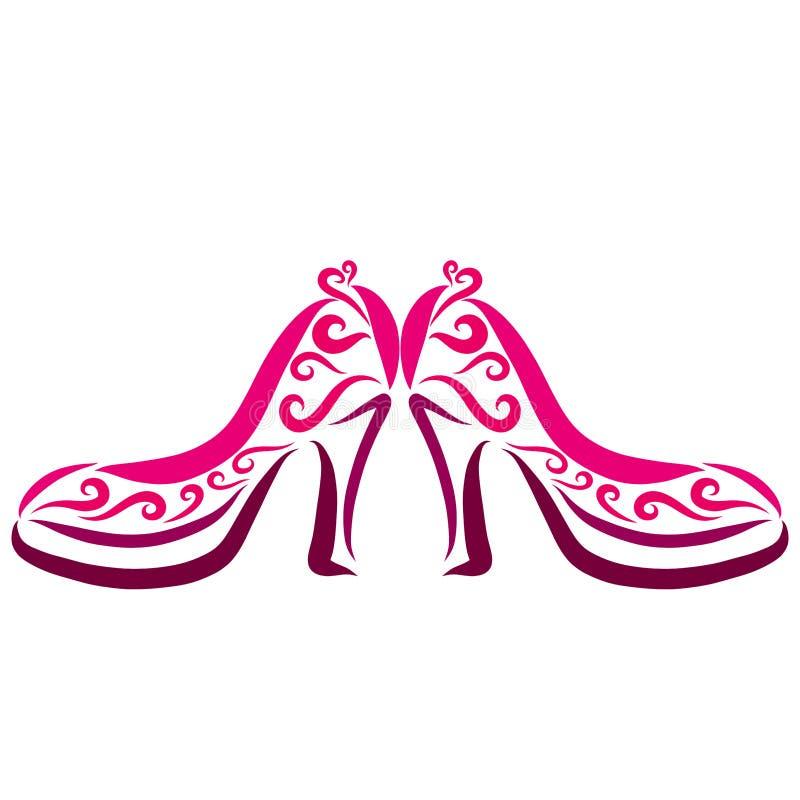 Ett par av härliga kvinnors skor med höga häl stock illustrationer