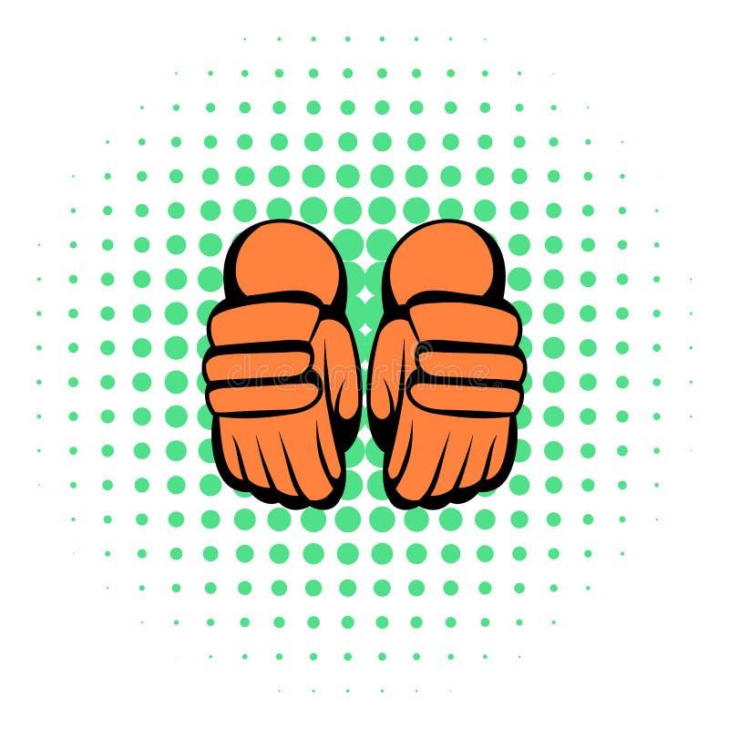 Ett par av hockeyhandskesymbolen, komiker utformar royaltyfri illustrationer