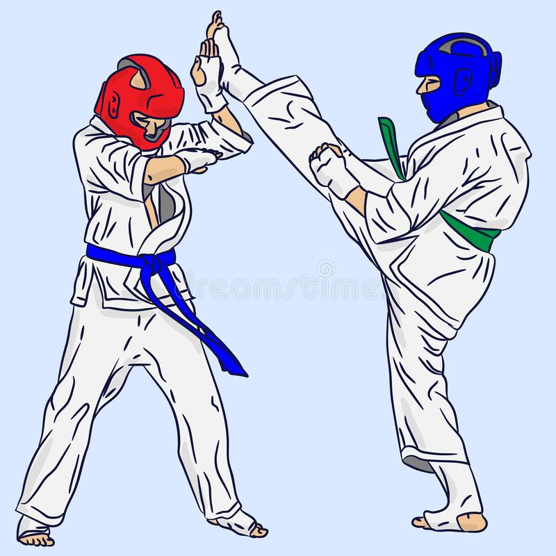 Ett par av karate eller Taekwondo r r stock illustrationer