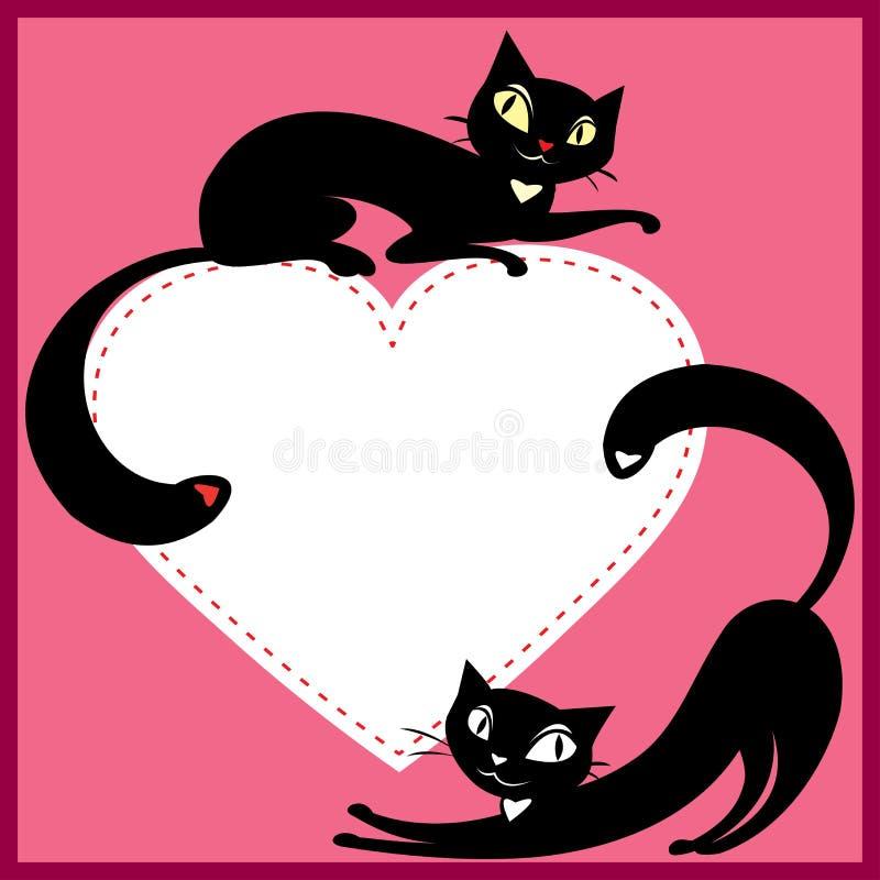 Ett par av katter och hjärta vektor illustrationer