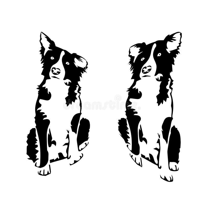 Ett par av liten hundkapplöpning, kontur på en vit bakgrund vektor illustrationer