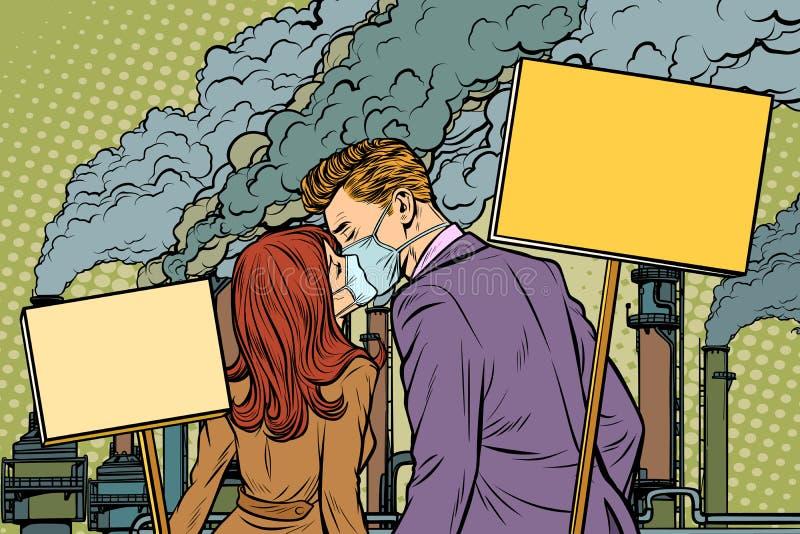 Ett par av mannen och kvinnan som protesterar mot luftföroreningfacto stock illustrationer
