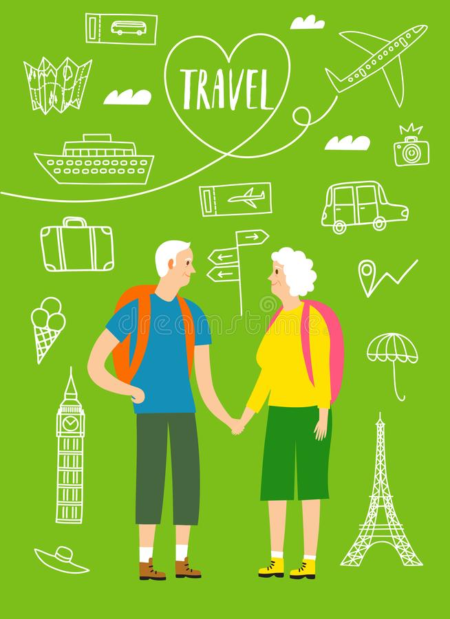 Ett par av pensionerade handelsresande med ryggsäckar stock illustrationer