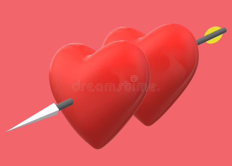Ett par av röda hjärtor älskar form tränger igenom vid en pil royaltyfri illustrationer