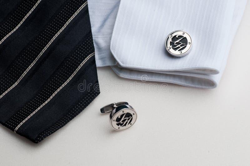 Ett par av stilfulla cufflinks royaltyfri fotografi