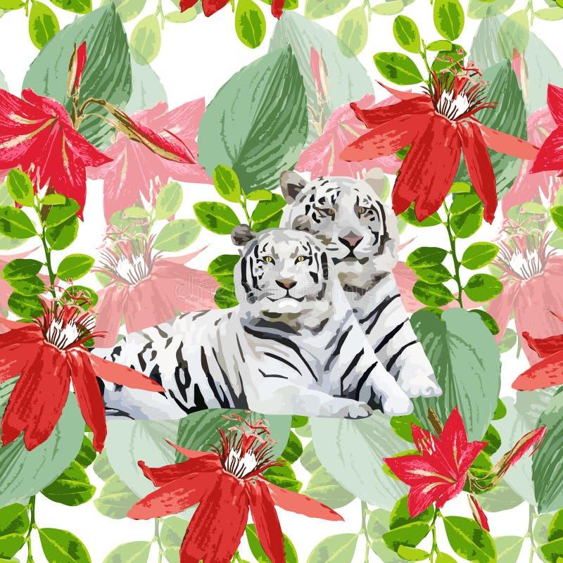 Ett par av vita tigrar och blommor royaltyfri illustrationer