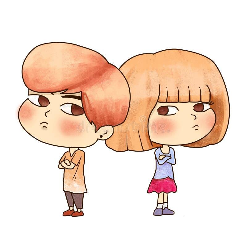 Ett par, en pojke och en flicka har att argumentera och gräla stil för konst för tecknad filmtecken vektor illustrationer