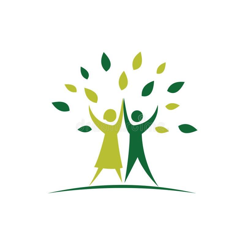 Ett par humanistiska tankar för att rädda världen genom en grön logotyp vektor illustrationer