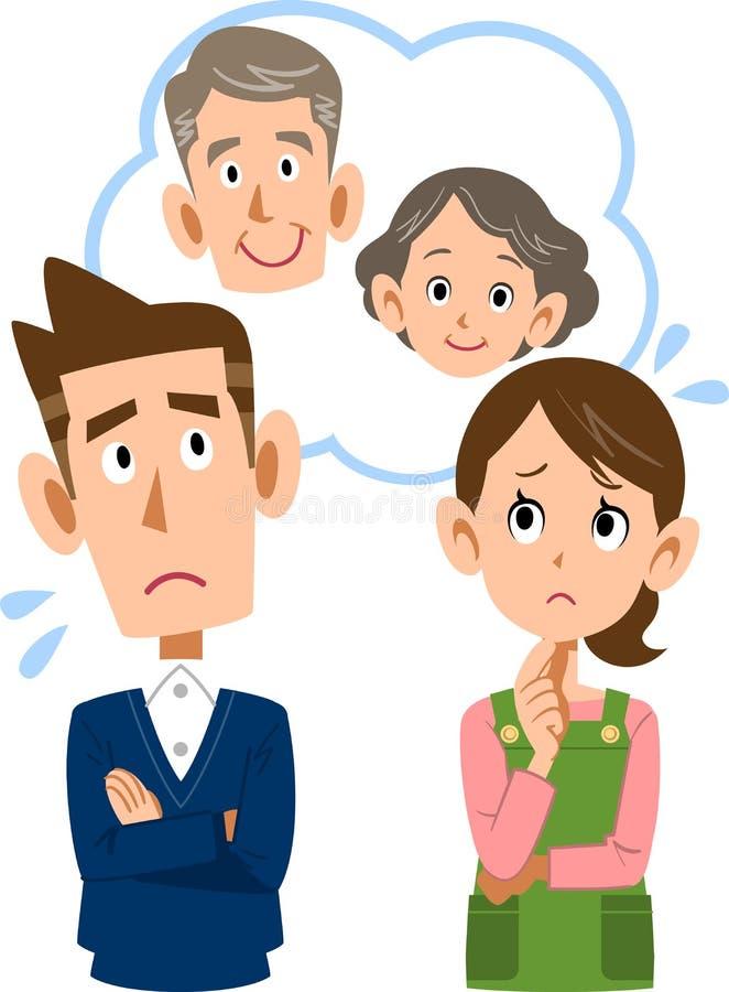 Ett par som känner sig oroligt om deras förälder`-gamling royaltyfri illustrationer