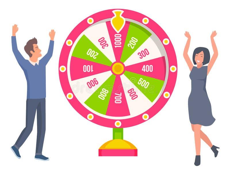 Ett par som spelar i Fortune Wheel och vinner pengar stock illustrationer