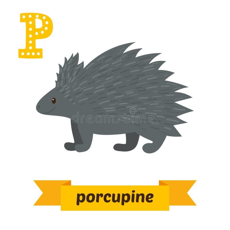 Ett piggsvin P-bokstav Djurt alfabet för gulliga barn i vektor Fu royaltyfri illustrationer
